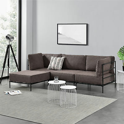 kunstleder sofa 3 sitzer ecksofa loungesofa l form dreisitzer eckcouch couch eur 199 99. Black Bedroom Furniture Sets. Home Design Ideas