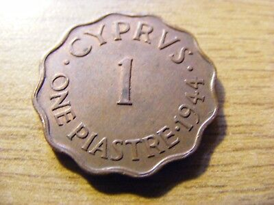 1944 Cyprus one piastre Coin  - nice Condition - 22mm Dia - some original lustre