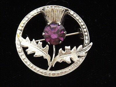 Sterling Silver Circular Brooch Scottish  Thistle and purple stone by Ward Bros