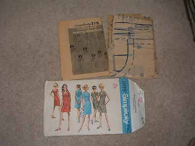 Sewing Pattern Womens Dress Vintage size 12  Bust 34""