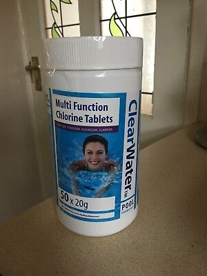 Bestway Clearwater 1kg Multifunction Swimming Pool Spa Chlorine Tablets 50 X 20g
