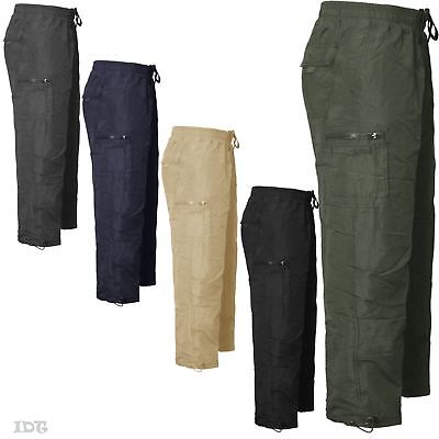 Mens Thermal Fleece Lined Combat Cargo Pants Elasticated Bottoms Trousers