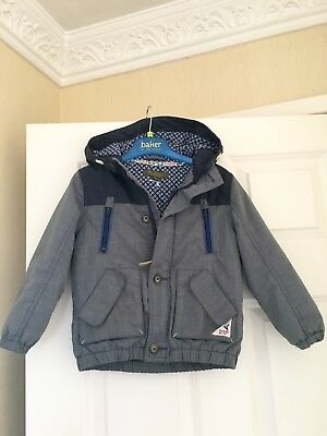 Ted Baker Boys Coat Age 3-4 Lovely On For Autumn With Hood Blue