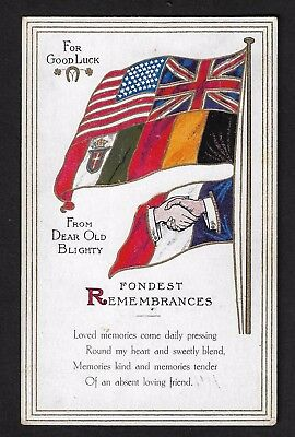 WW1 Unusual Patriotic Flags Postcard for Good luck from dear old Blighty