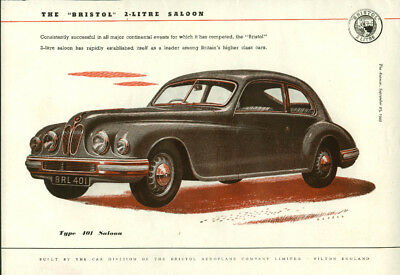 Consistently successful Bristol Type 401 2-Litre Saloon ad 1949