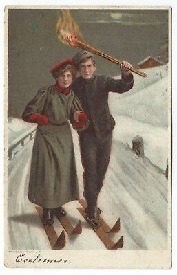 1906 Postcard Skiing with Postmark for Raviola Russia by JF Eneberettiget