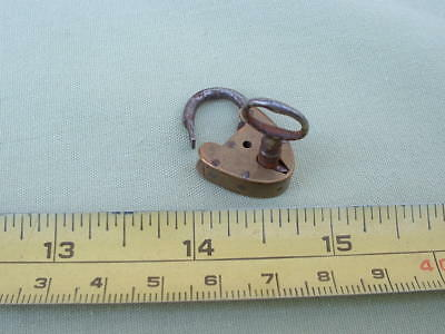 An vintage miniatue Brass Padlock and Key.