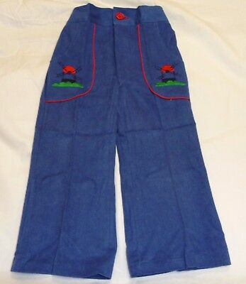 VINTAGE 1970's UNISEX PRIMALTA 'WINDMILL' EMBROIDERED FLARED JEANS AGE 5-6 YEARS