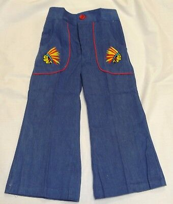 VINTAGE 1970's KIDS PRIMALTA INDIAN CHIEF EMBROIDERED FLARED JEANS AGE 2-3 YEARS