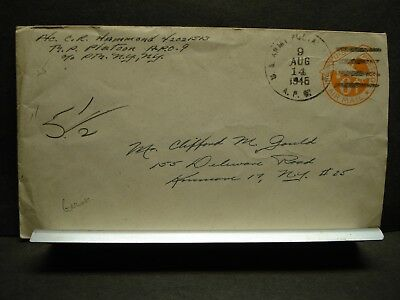 APO 9 INGOLSTADT, GERMANY 1945 WWII Army Cover 9th Division MP Platoon w/ note