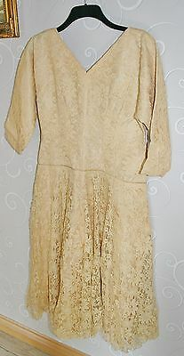 Vintage 1950's Gold Chantilly Lace Bridemaids Wedding Dress - Homemade