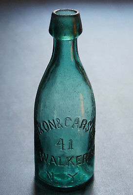 Antique Green Pony Blob Top Soda Bottle - Dixon & Carson 41 Walker St Ny