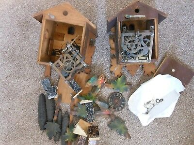 Two Vintage Cuckoo Clocks Parts Spares or Repair