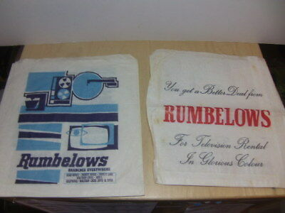Rumbelows – two paper Record Bags 1960s + 1970s record shop