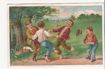 Boys Dancing Ring Around the Rosy Baseball Bat No Advertising Vict Card c1880s