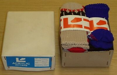 12 PAIRS OF VINTAGE 1970's KIDS KNITTED 'SNOWMAN' MITTS ASSORTED SIZES & COLOURS