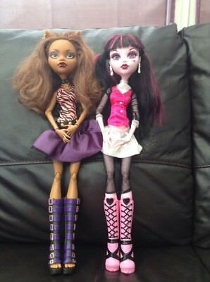 "17"" Monster High Draculaura & Clawdeen Frightfully Tall Articulated"