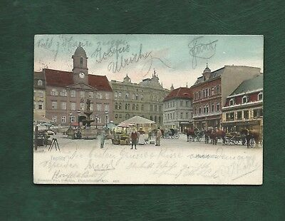 Austria 1904 old used colour post card of Teplitz Town Square posted to Brunn