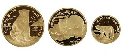 350 Rubel 1997, Russland, Gold, 1,75 Oz, PP/Proof, Eisbär, Parch. 1625