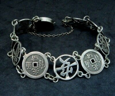 Vintage ANTIQUE CHINESE Character REAL SILVER LINK & COIN BRACELET Repair Spare