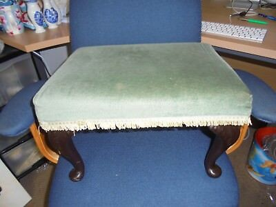 Large green padded footstool