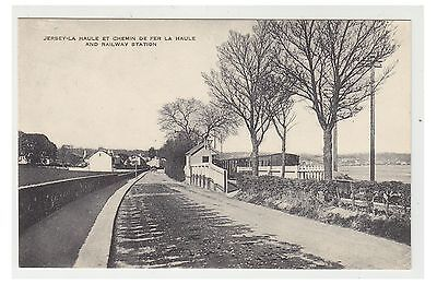 Jersey postcard - La Haule and Railway Station
