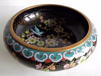 Wonderful Old Chinese Cloisonne Bowl - Floral / Bird Pattern - Superb Condition