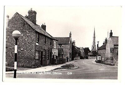 Old Postcard Cross Roads And High Street Glinton Lincolnshire
