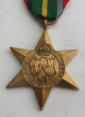 Authentic Wwii The Pacific Star Medal With Ribbon