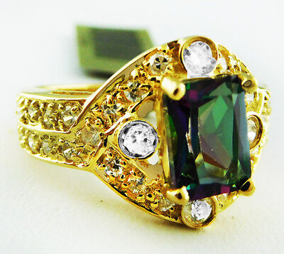 GENUINE 2.52 Cts MYSTIC TOPAZ & SAPPHIRES RING 10K GOLD *NWT & FREE APPRAISAL
