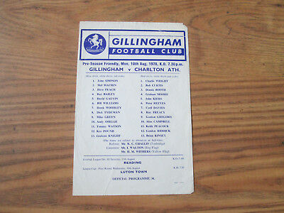 1970/1 GILLINGHAM v CHARLTON ATHLETIC (FRIENDLY)