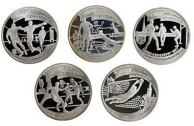 5x 1 Rubel 1997, Russland, Silber, PP/Proof, 100 Jahre Fussball, Parch. 619-623