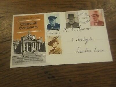 Gb - 1974 Sir Winston Churchill Centenary First Day Cover Postmarked Basildon