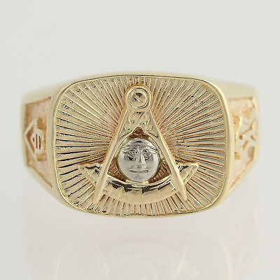 Past Mast Blue Lodge Ring - 14k Yellow & White Gold Men's 9 Masonic