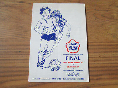 1983 WOMEN'S FA CUP FINAL DONCASTER BELLES v ST. HELENS @ LINCOLN CITY