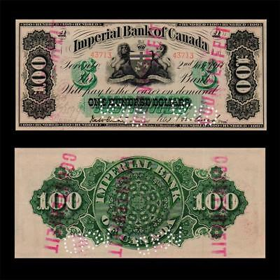 1917 Imperial Bank Of Canada, $100 » Cv $600 « ~X. Rare~ ^cancelled^