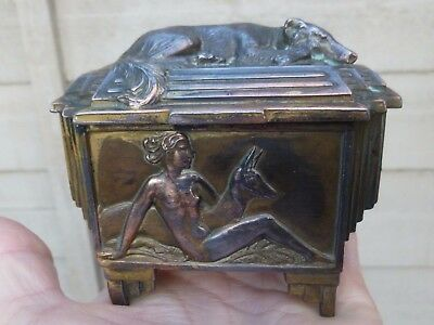 A Stunning Art Deco French Jewellery Box-ORFEVRERIE DILECTA-Nude,Deer,Dog-c1920