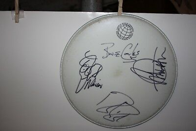 """Cheap Trick Signed Stage Used Drum Head 15"""" Bun E. Carlos Rick Nielsen"""