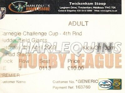 Ticket - Harlequins v Huddersfield Giants 04.04.2009 Challenge Cup