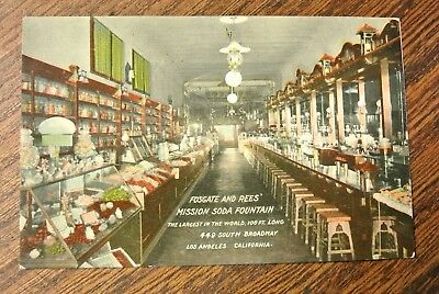 vintage p/c FOSGATE AND REES MISSION SODA FOUNTAIN  LOS ANGELES 6845(PM574)