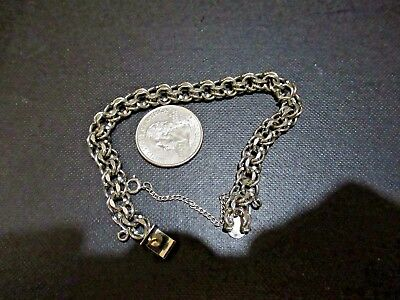 Vintage Sterling Silver Charm Bracelet Box Tongue Closure w Safety Chain Fits 7