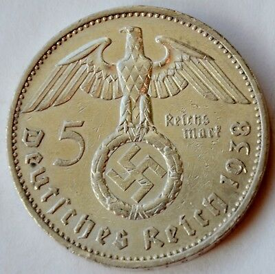 5 Mark 1938 A Third Reich Nazi Germany Silver coin