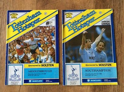 2 Tottenham Hotspur Football Programmes 1988 Middlesbrough/ Southampton Ex Cond