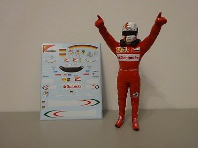 "Ferrari SF16-H Sebastian Vettel "" Figure Decals "" 1/18 2016 TOP"