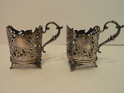 Antique Persian Silver 875/84 Glass Tea Cup Holders 198 Grams