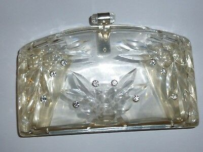 A Vintage Clear Lucite Clutch Bag or Purse-Reverse Carved Front & Back-c1950s.