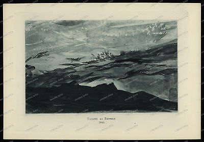 Druck-Stahlstich-Engraving-Sunset at Baveno.1845-65