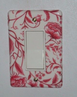 Vintage Dura Plastic Flowers gang  Light  switch Cover American Tack  single