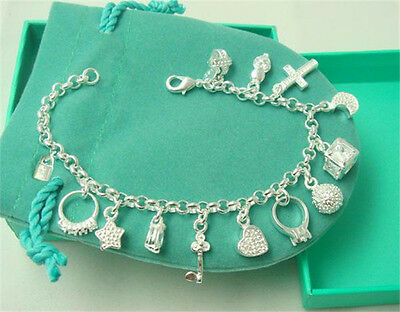 NEW XMAS GIFT 925STERLING Silver Bracelet GIRL Jewelry Silver TAG 13charm Bangle