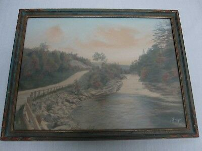 SIGNED CHARLES SAWYER RUSHING RIVER w FALL FOLIAGE HAND TINTED FRAMED PHOTOGRAPH